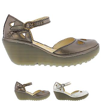 Womens Fly London Yuna Idra Leather Closed Toe Ankle Strap Wedge Shoes