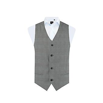 Dobell Boys Black and White Waistcoat Regular Fit Prince of Wales Check