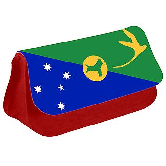 Christmas Island Flag Printed Design Pencil Case for Stationary/Cosmetic - 0203 (Red) by i-Tronixs