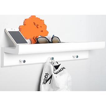 Oakley - Wand montierten 45cm Veranstalter schwimmenden Regal mit 3 Schlüssel / Mantel Haken - weiß