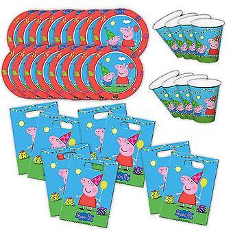 Peppa Wutz Partybox eco original do aniversário das crianças 32-Piece Deco Peppa Pig pacote de festa