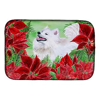 Carolines Treasures  CK1339DDM Samoyed Poinsettas Dish Drying Mat