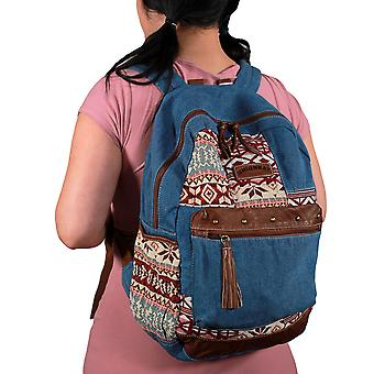 Blue Denim Tribal Patches Boho Backpack