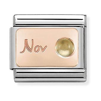 Nomination Classic November Birthstone Steel, Citrine and 9k Rose Gold Link Charm 430508/11