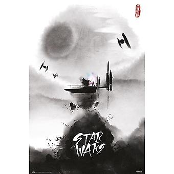 Star Wars Poster Darth Vader Last Fight Watercolor