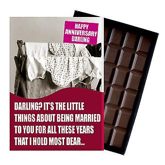 妻の市民パートナーボックスチョコレートグリーティングカードプレゼントCDL147のための結婚記念日の贈り物