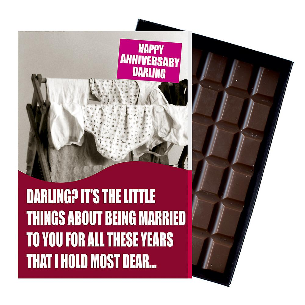 Wedding Anniversary Gift for Wife Civil Partner Boxed Chocolate Greeting Card Present CDL147