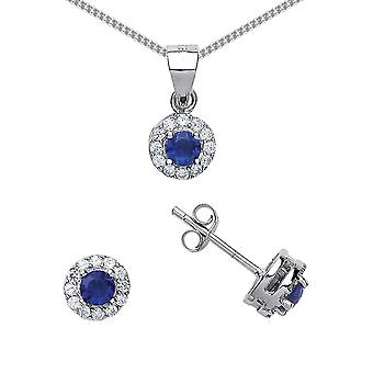 Jewelco London Rhodium Plated Silver Blue and White Round Brilliant Cubic Zirconia Halo Earrings Necklace Set 18 inch