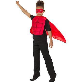 Bambini Supereroe Kit Costume Supereroe Rosso con Eye Mask Schiuma piatto petto e Cape Kids Costume