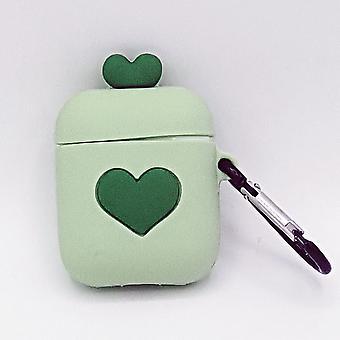 Funda de silicona de dibujos animados para Apple Airpods-love heart-green-with lobster clasp-with carabiner