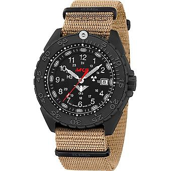 KHS Wristwatch الرجال المنفذ الأسود تيتان CR مع حلف شمال الأطلسي باند البيج- KHS. ENFBTCR. Nt