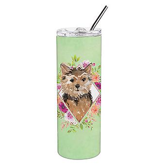 Norwich Terrier Green Flowers Double Walled Stainless Steel 20 oz Skinny Tumbler