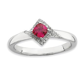 2.25mm 925 Sterling Silver Prong conjunto Rhodium plated Stackable Expressions Polished Created Ruby and Diamond Ring Jewely