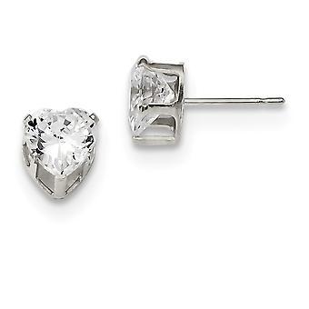 925 Sterling Silver Snap indstilling Post Øreringe 7mm Love Heart 3 Prong CZ Cubic Zirconia simuleret Diamond Stud øreringe