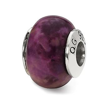 925 Sterling Silver Polished finish Reflections Purple Magnesite Stone Bead Charm Pendant Necklace Jewelry Gifts for Wom