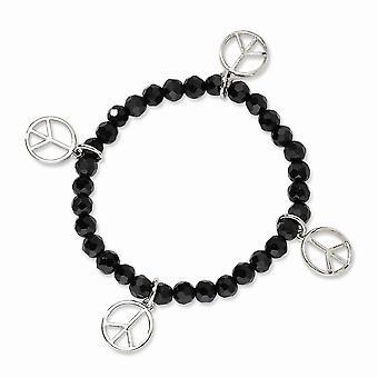 Tono de plata paz encantos negro cristal con cuentas estiramiento pulsera joyería regalos para las mujeres