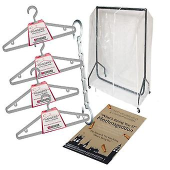 Caraselle Student Storage Solution SMALL - 3ft Rail, PVC Rail Cover, 12 Hangers, Space Saver Bar and Moth Guide