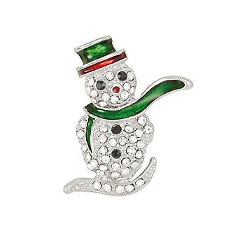 Eternal Collection Sparkle Snowman Crystal And Enamel Silver Tone Brooch