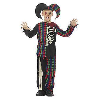 Pojat Skeleton Jester Halloween Fancy mekko puku
