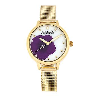 Sophie et Freda Raleigh Mother-Of-Pearl Bracelet Watch w/Swarovski Crystals - Purple