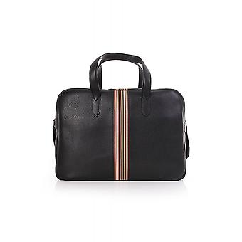 Paul Smith Accessories Mens Leather Holdall With Multistriped Stripe Detail
