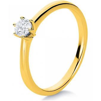 Diamond ring - 18K 750/- Yellow gold - 0.23 ct. Size 54