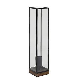 Luz y lámpara de mesa Living 10 x 10 x 45 Cm ASKJER madera marrón + negro + vidrio