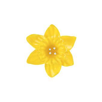 Evig samling påskelilje gul emalje sølv tone blomst broche