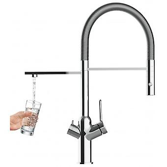 3 Way Kitchen Filter Sink Mixer With Chrome Spring Spout And 2 Jets Spray For Water Filter Systems - 353