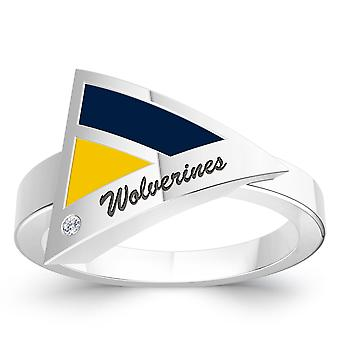 University Of Michigan Engraved Sterling Silver Diamond Geometric Ring In Blue and Yellow