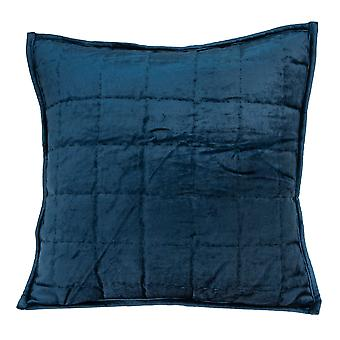 """20"""" x 7"""" x 20"""" Transitional Navy Blue Quilted Pillow Cover With Poly Insert"""