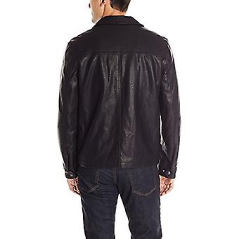 Dockers Men's Faux Leather Lay Down Collar Zip Front Jacket,, Black, Size Small