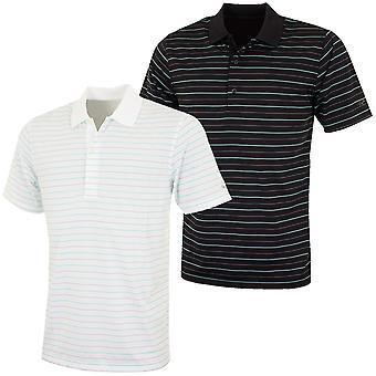 Greg Norman Mens K323 Micro Pique Green Stripes Golf Polo Shirt