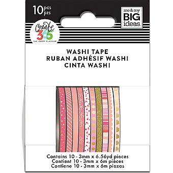 Happy Planner Mini Washi Tape 3mmx6.56yd Each 10/Pkg-Pink Hues
