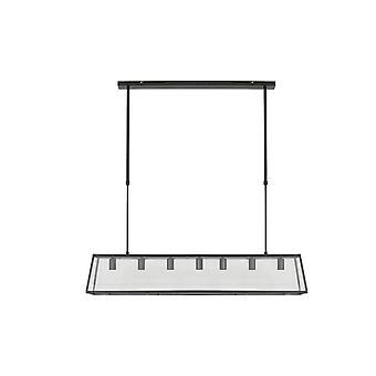 Light & Living Svana 7 Lamp Black And Glass Modern Island Trough, 134cm