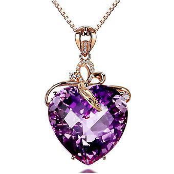 Collana di colore ametista a forma di cuore di lusso