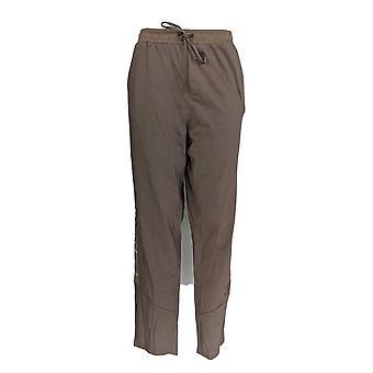AnyBody Women's Plus Pants Cozy Knit w/ Satin Brown A367658