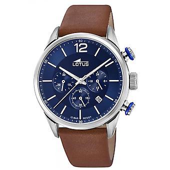 Montre Lotus L18689-1 - CHRONO Dateur/Chronographe Acier Argent� Cuir Marron Cadran Bleu Homme