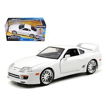 Brian'S Toyota Supra Blanco - Rápido & Furioso Película 1/24 Modelo de coche fundido por Jada