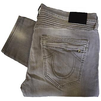 True Religion Rocco Moto Dcom Faded Slate Grey Jeans