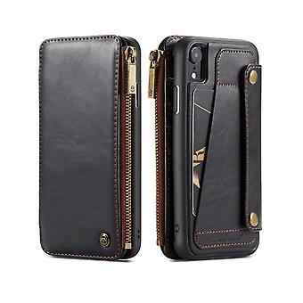 IPhone XR tapauksessa irrotettava monikäyttöinen musta nahka folio tapauksessa, korttipaikat