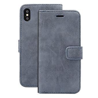 Für iPhone XR Fall dunkel blau Schafe Textur Folio PU Lederbezug