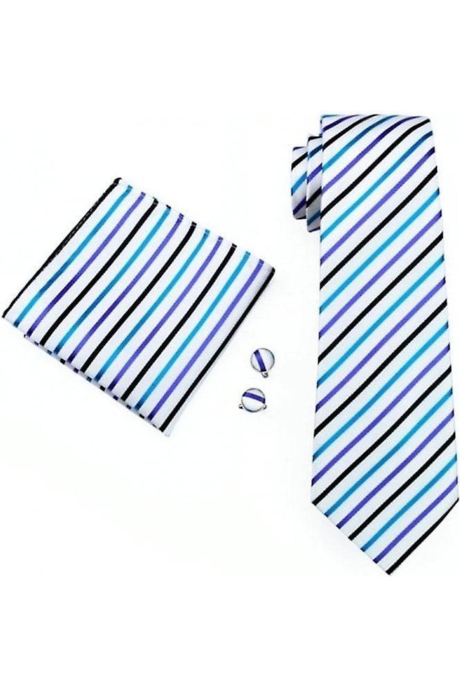 JSS Mens Blue & Black Striped 100% Silk Pocket Square, Cufflink And Tie Set