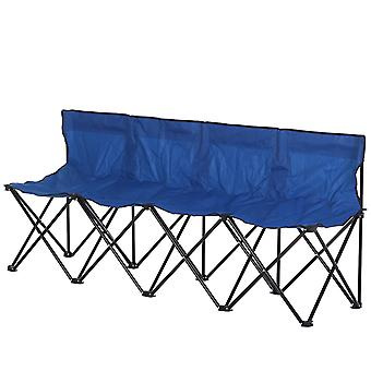 Outsunny 4-Seater Chair Bench w/ Metal Frame Camping Chair Folding Portable w/ Carry Case Blue
