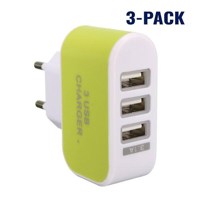 Stuff Certified® 3-Pack Triple (3x) USB Port iPhone / Android Wall Charger Wall Charger AC Green Home