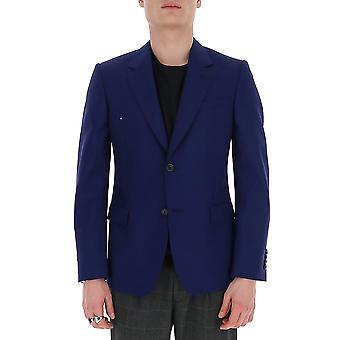 Alexander Mcqueen 595146qou124110 Männer's Blaue Wolle Blazer