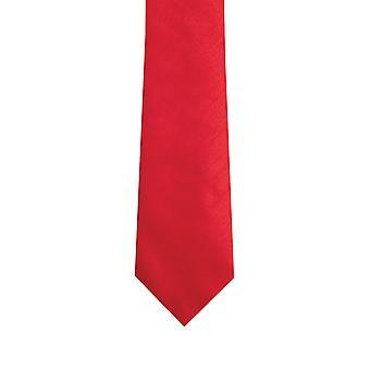 Dobell Mens Red Tie Dupion Satin-Feel Work/Wedding