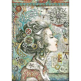 Stamperia Rice Paper A4 Lady with Compass