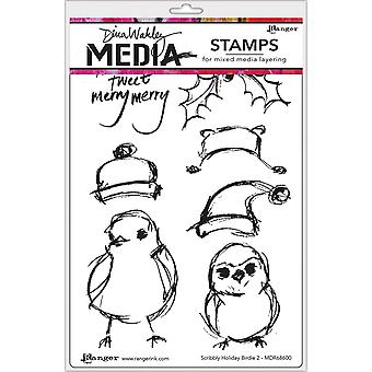 """Dina Wakley Media Cling Stamps 6""""X9"""" - Scribbly Holiday Birdie 2"""