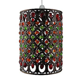 Moroccan Pendant Shade - Multi Red & Green Jewels Antique Brass